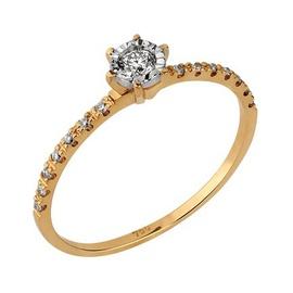 Solitário em Ouro Amarelo 18k com Diamantes - Helder Joalheiros