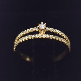 Anel Solitário em Ouro 18k 750 Aro Duplo Cravejado - Helder Joalheiros