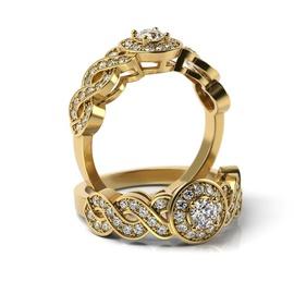 Solitário em Ouro 18k Trabalhado com Diamantes - Helder Joalheiros
