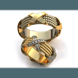 Aliança de Casamento X Cravejada com Diamantes - Helder Joalheiros