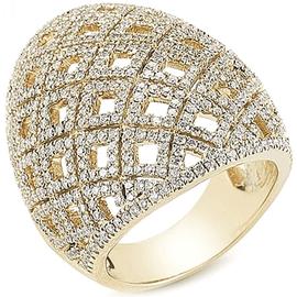 Anel Abaulado Cravejado com Diamantes - Helder Joalheiros