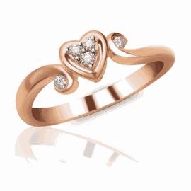 Anel Coração Cravejado com Diamantes e Aro Trabalh... - Helder Joalheiros