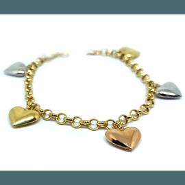 Pulseira em Ouro 18k Corações Tricolores - Helder Joalheiros