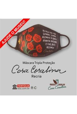 Máscara Cora Coralina Tripla Camada Recria - Preta - Tertúlia Produtos Literários