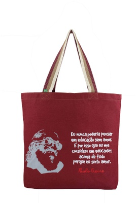 Bolsa Paulo Freire G Bordô - Tertúlia Produtos Literários