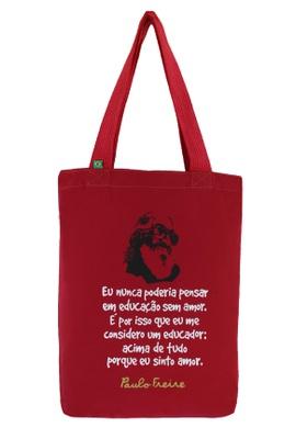 Bolsa Paulo Freire Vermelha - Tertúlia Produtos Literários