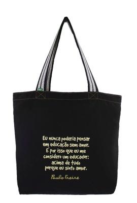 Bolsa Paulo Freire Preta - Tertúlia Produtos Literários