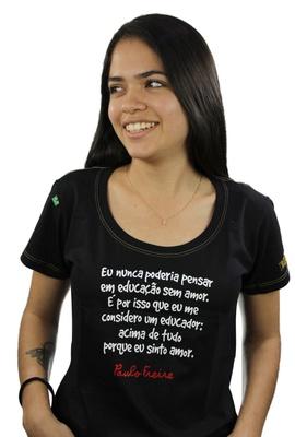 Babylook Paulo Freire Preta - Tertúlia Produtos Literários