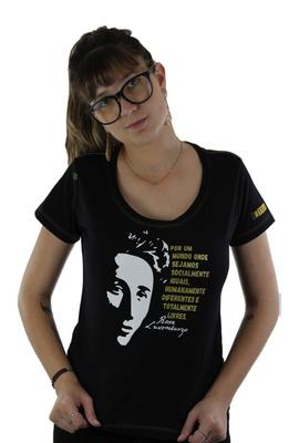 Babylook Rosa Luxemburgo Preta - Tertúlia Produtos Literários