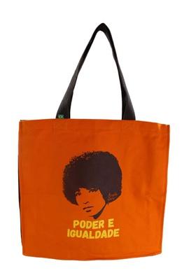 Bolsa Com Zíper Angela Davis Laranja - Tertúlia Produtos Literários