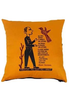 Capa de Almofada Ariano Suassuna Amarela - Tertúlia Produtos Literários