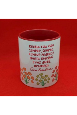 Caneca Cora Coralina Color Vermelho - Tertúlia Produtos Literários