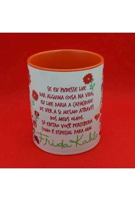 Caneca Frida Kahlo Olhos Color Laranja - Tertúlia Produtos Literários