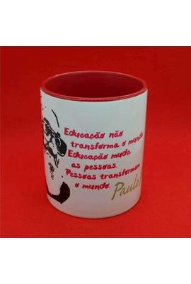 Caneca Paulo Freire Educação Vermelha - Tertúlia Produtos Literários