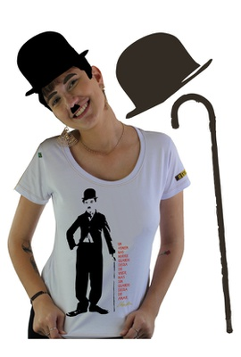 Babylook Chaplin Branca - Tertúlia Produtos Literários