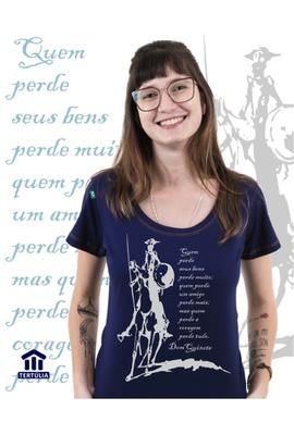 Babylook Dom Quixote Coragem Marinho - Tertúlia Produtos Literários