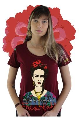 Babylook Frida Kahlo Alas Bordô - Tertúlia Produtos Literários