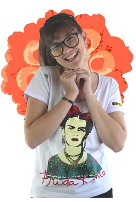 Babylook Frida Kahlo Alas Branca - Tertúlia Produtos Literários