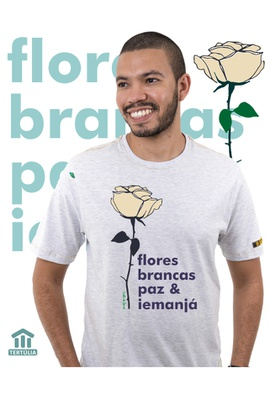 Camiseta Iemanjá Flor Gelo - Tertúlia Produtos Literários