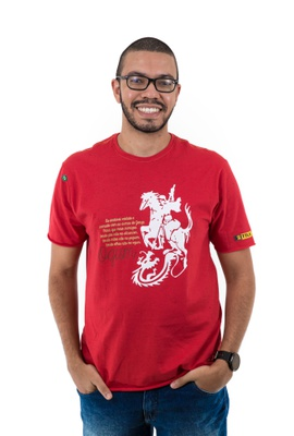 Camiseta Ogum Mescla Vermelha - Tertúlia Produtos Literários