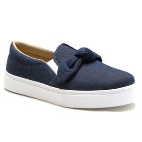 Tênis Slip On Feminino Jeans Laço Conforto - 1001... - MADOK
