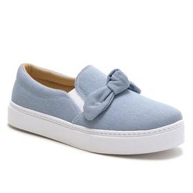 Tênis Slip On Feminino Azul Jeans Laço Conforto -... - MADOK