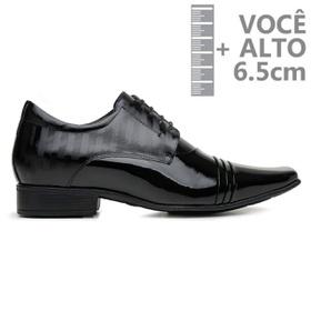 Sapato com Salto Interno Jota Pe Preto Verniz Grow... - MADOK