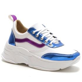 Tênis Feminino Sneaker Chunky Azul Roxo Metalizado... - MADOK