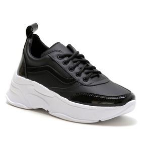 Tênis Feminino Sneaker Chunky Preto com verniz - 4... - MADOK