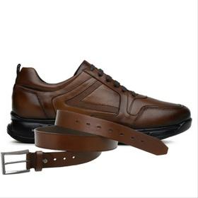 Sapato Jota Pe Marrom 3D Air Evolution + Cinto de ... - MADOK