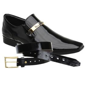 Sapato Social Jota Pe Preto Boss Gold + Cinto de V... - MADOK