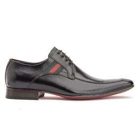 Sapato Social Preto solado de Couro Bico Fino - 3... - MADOK