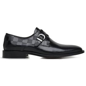 Sapato Social Couro Preto Wood Estampa Dama - 322... - MADOK