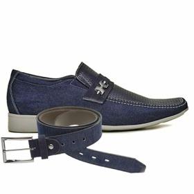 Sapato Casual Jota Pe Jeans Marinho Air + Cinto Je... - MADOK
