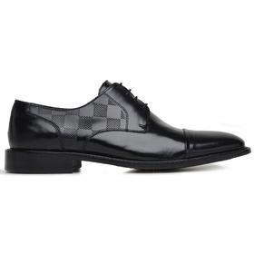 Sapato Social Couro Preto Wood Estampa Dama - 6041... - MADOK