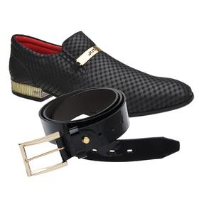 Sapato Social Jota Pe Preto Dubai Gold + Cinto de ... - MADOK