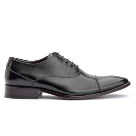 Sapato Social Preto de Amarrar Sola de Couro - 200... - MADOK