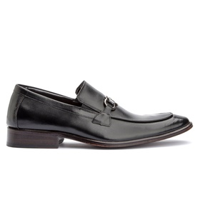 Sapato Social Preto Loafer Sola de Couro - 2014 P - MADOK