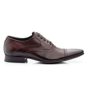 Sapato Social Masculino Marrom em Couro De Amarrar... - MADOK