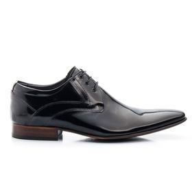 Sapato Social Verniz Preto de Amarrar Sola de Cour... - MADOK