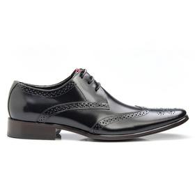 Sapato Social Preto Brogue de Amarrar - 657P - MADOK