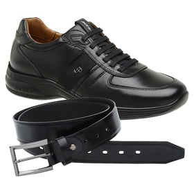 Sapato Jota Pe Preto 4K Technology + Cinto de Cour... - MADOK