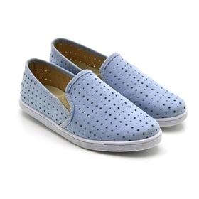 Tênis Slip On Feminino Azul Estampa Conforto - 100... - MADOK