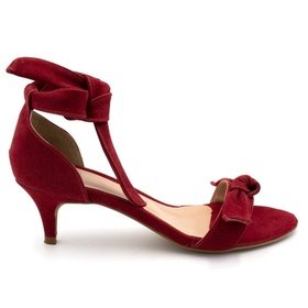 Sandália Feminina Vermelha Salto baixo Laço Julia ... - MADOK