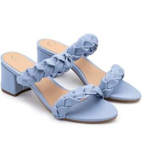 Sandália Azul salto grosso médio Julia Andara - 18... - MADOK