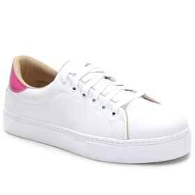 Tênis Casual Feminino Branco Rosa Conforto Julia A... - MADOK