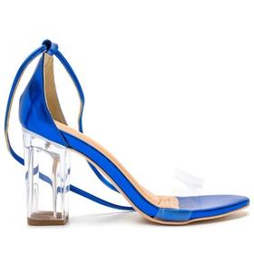Sandália Azul Salto Transparente Julia Andara - 1... - MADOK