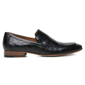 Sapato Social Preto Couro Croco Wood - 58854 CROC... - MADOK