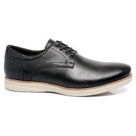 Sapato Masculino Preto em Couro Comfort Laser - 90... - MADOK