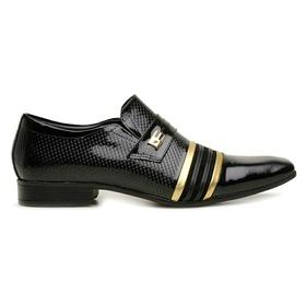 Sapato Social Jota Pe Verniz Preto/Ouro Velho - 2... - MADOK